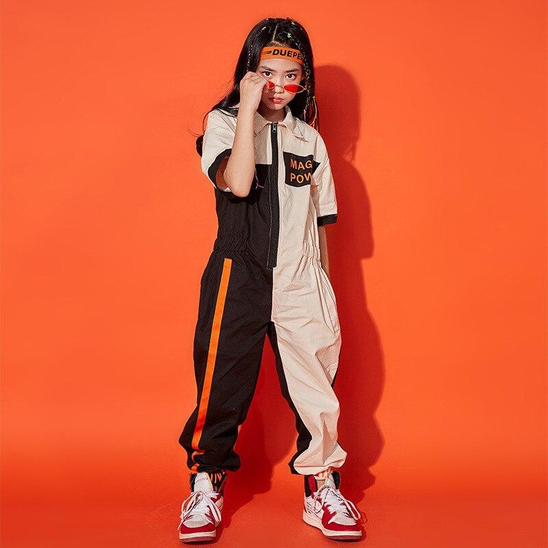 Printemps automne adulte enfants Hip Hop Tribal danse Costume porter garçons filles Patchwork salopette une pièce pantalon harem jazz combinaison