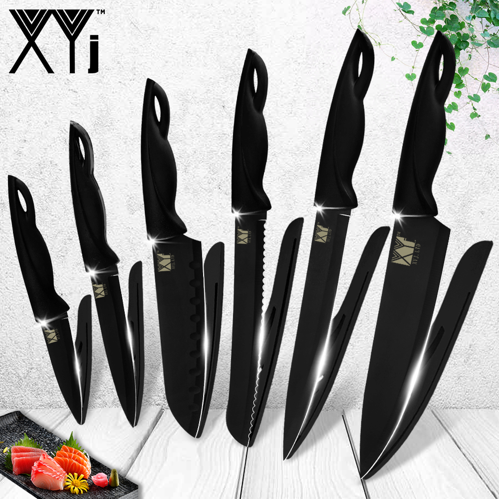 XYj Knife Sets 6pcs Kitchen Knives stainless steel knife Meat Slicer Fishing Vegetables Cutter Chef Knife Kitchen Accessories