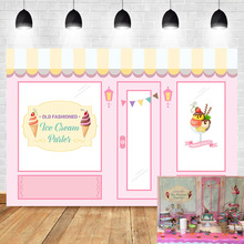 NeoBack Old Fashioned Ice Cream Parlor Backdrop Baby Shower Photo Background Pink Shop Birthday Party Banner Backdrops