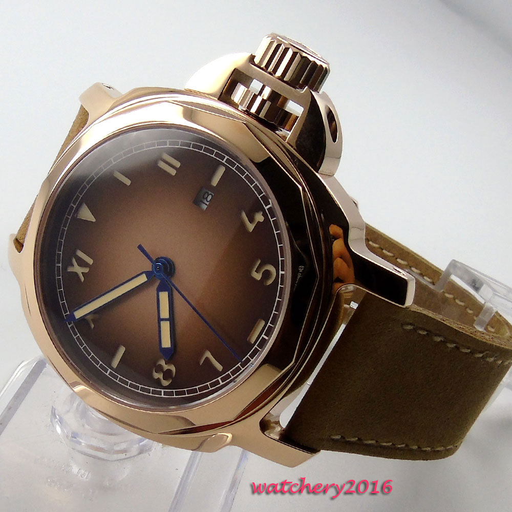 44mm Parnis Brown dial Date Rose Golden Case Sapphire Crystal 2017 top brand luxury automatic Mechanical Men's Wristwatches baby golden brown pettiskirt golden ruffle brown bow white top shirt set 3 12m mapsa0289
