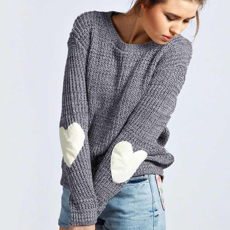 c58ed2276 Autumn Winter New Women Knitwear Fashion Jumper Heart shaped Spliced ...