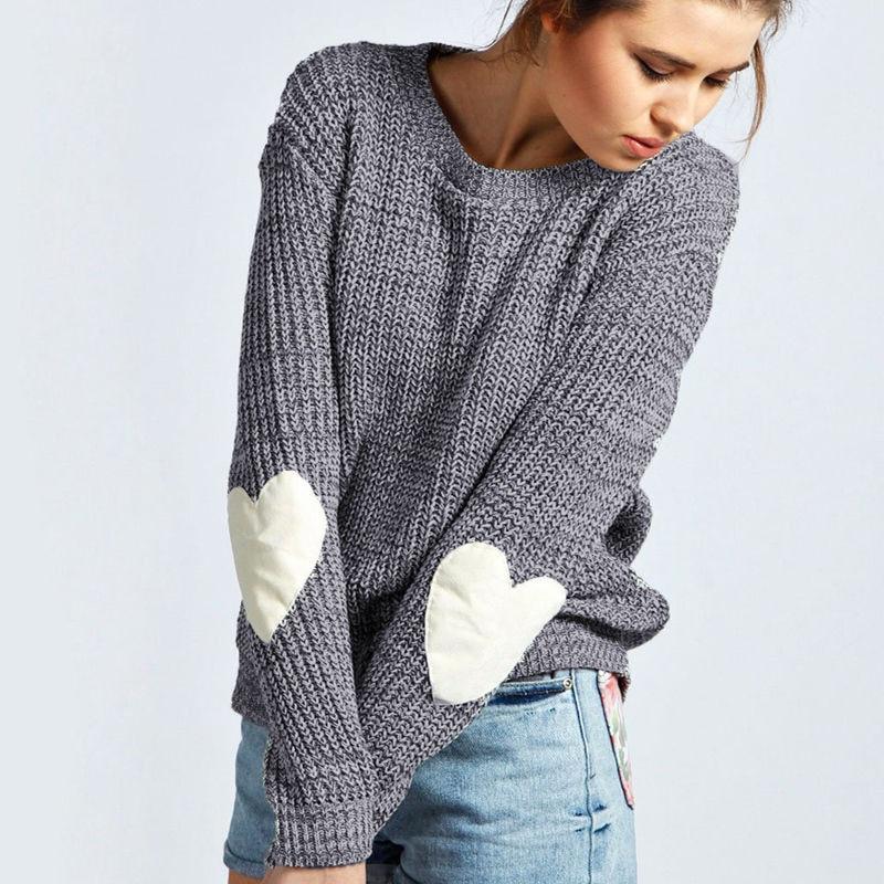 Autumn Winter New Women Knitwear Fashion Jumper Heart-shaped Spliced Knitted Sweaters Womens Long Sleeve Pullover Tops