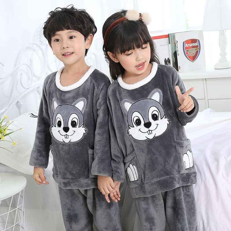 2442b26210 Super soft skin touch Kids coral fleece pajamas set Warm flannel fabric children  winter sleepwear Boys