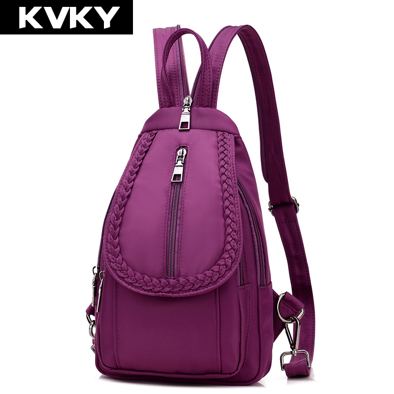 7fa78bb91 KVKY Moda nylon Impermeável Mulheres Mochila mochilas Designer De sacos de  Ombro de Alta qualidade Mulheres mochila mochilas para adolescente