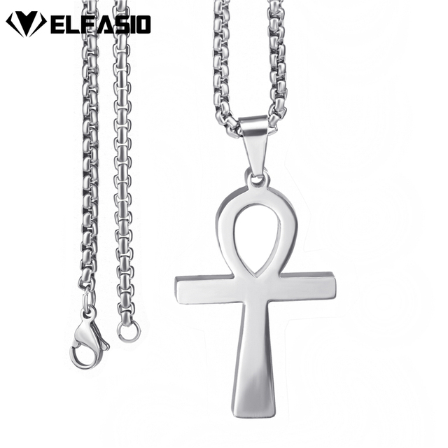 Mens Stainless Steel Pendant Chain Ancient Ankh Cross Egyptian
