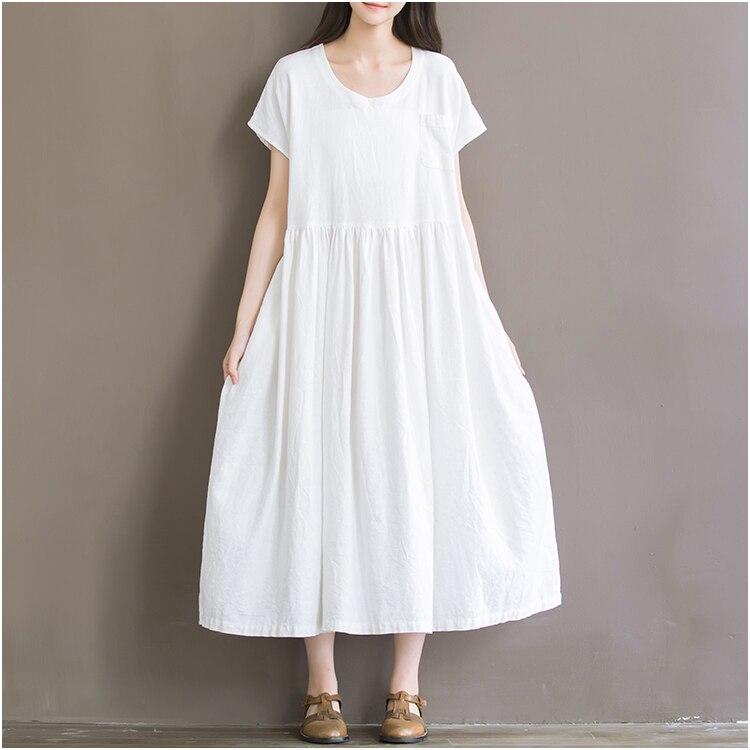 linen dress plus size loose casual short sleeve vintage women