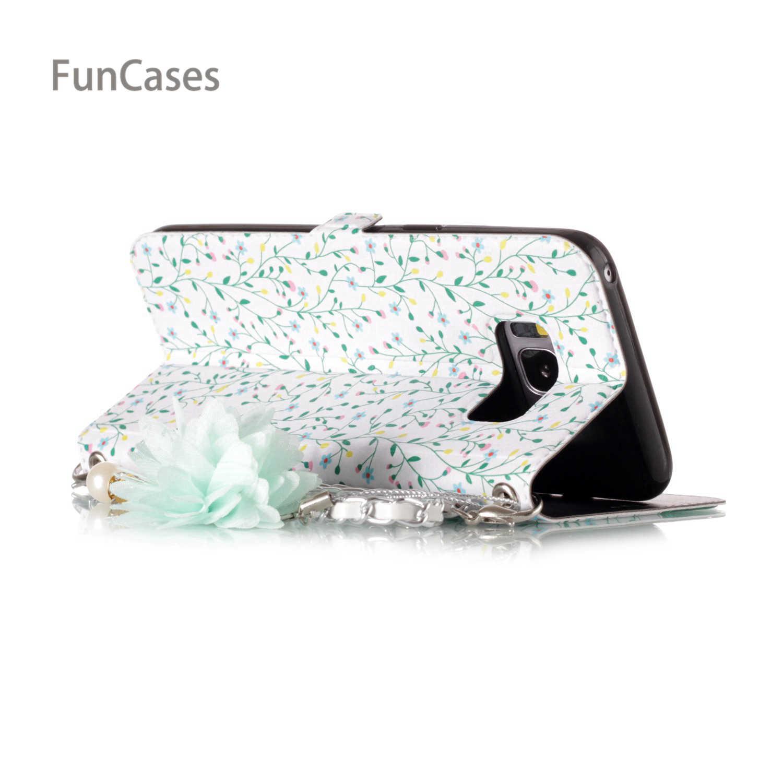 Luksusowe Daisy etui na telefony komórkowe dla Hoesjes Samsung S8 PU skóra korale przenośny wzorzyste etui na telefony komórkowe dla Samsung Galaxy S8 gumowe