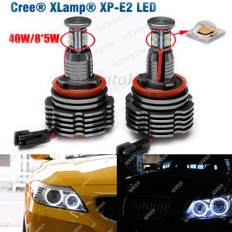 ФОТО H8 80W Cree chip Led Angel Eyes For BMW E87 E82 E92 E93 E70 E90 E91 E60 E61 E63 E64 Led Marker Headlight Error Free Angel Eyes