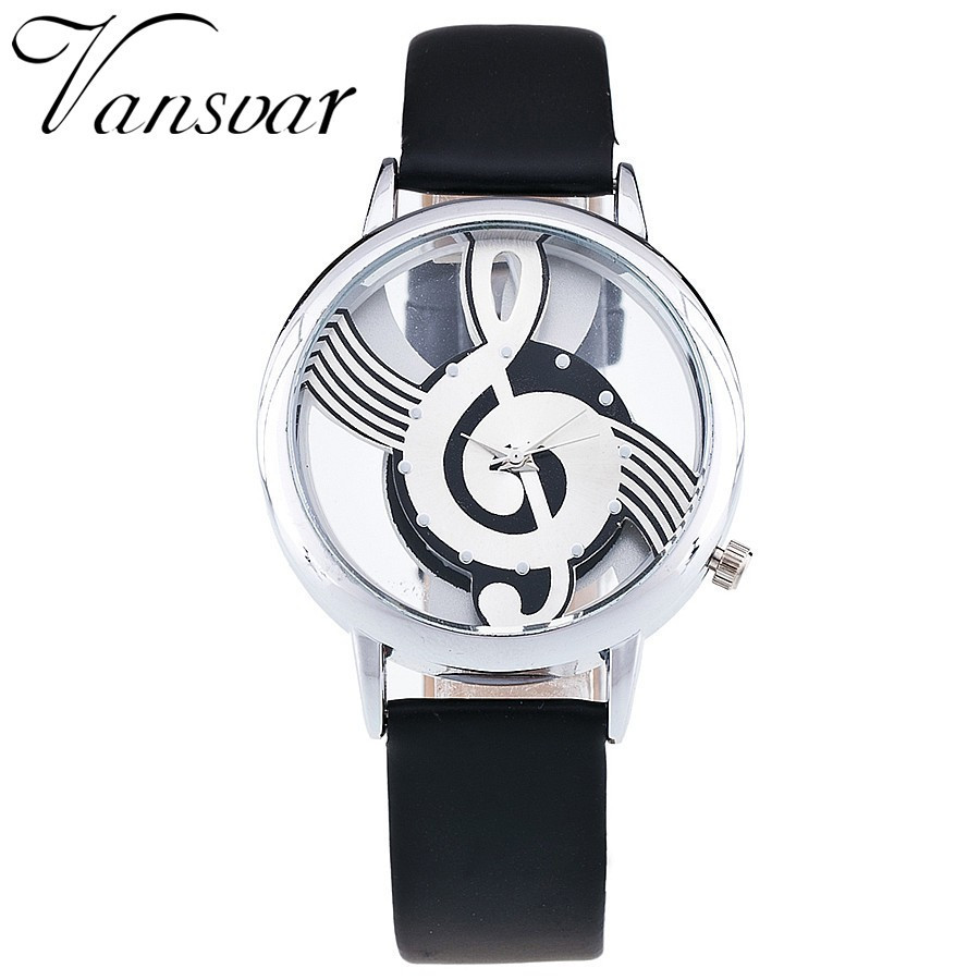 Stylish Musical Note Painting Women Watch Luxury Brand Leather Ladies Quartz Wrist Watches Casual Hollow Clock Reloj Mujer #W
