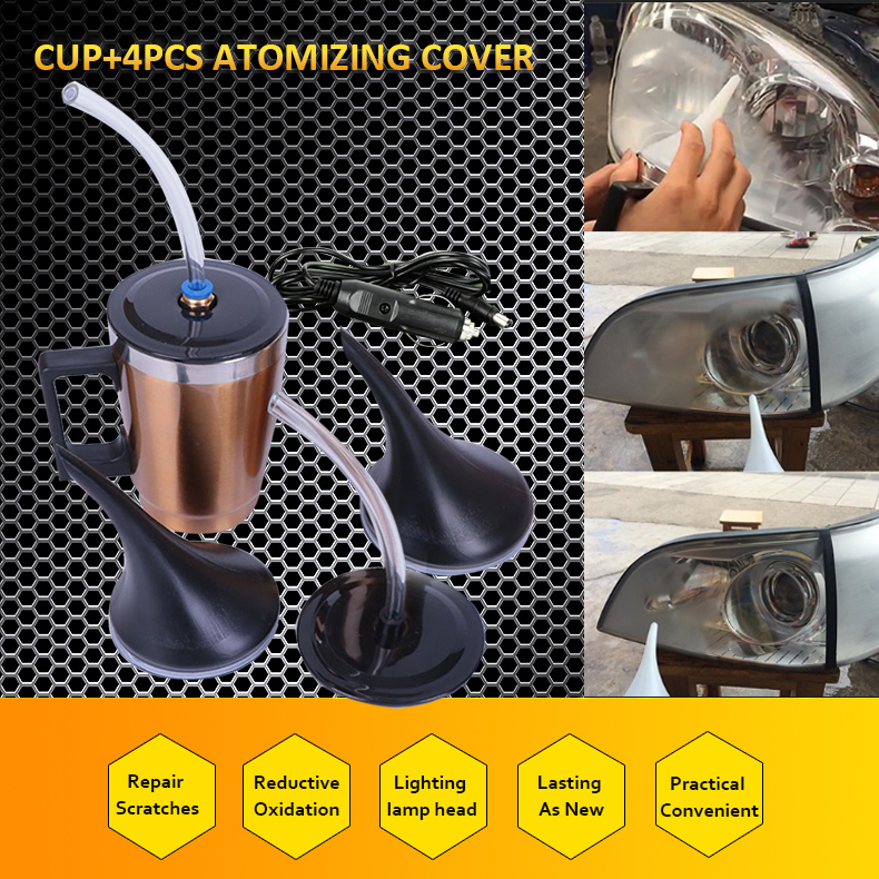 4 Covers Car Headlight Refurbished Atomizing Cup Car Headlight Lens Restoration Kit Restorer System Restore Clear