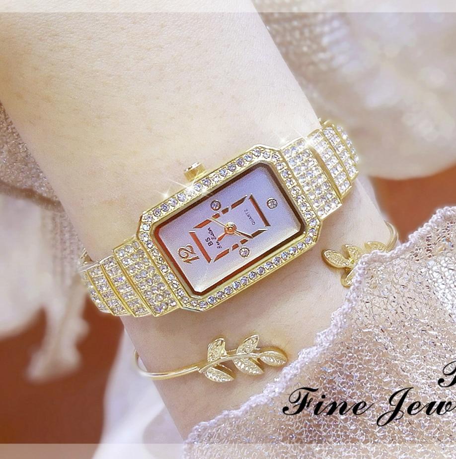 New Arrival Famous BS Brand Bling Diamond Bracelet Silver Watch Women Luxury Austrian Crystal Big Watch Rhinestone Charm Bangle