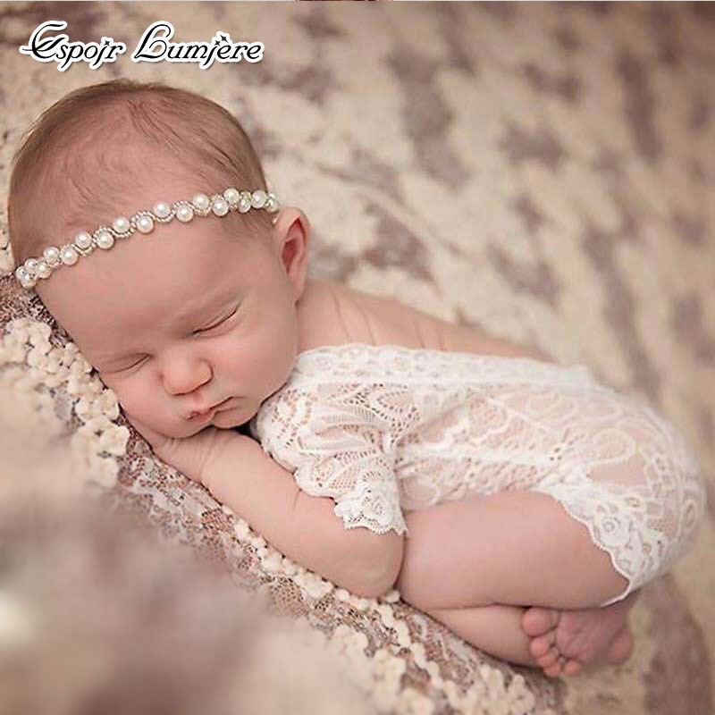 Newborn Photography Props Baby Rompers Baby Girl Lace Romper Infant Fotografia Accessories Photo Shoot Costumes Clothes Jumpsuit newborn baby pants with bear hat set knitted pants newborn photo props baby photography props baby rompers