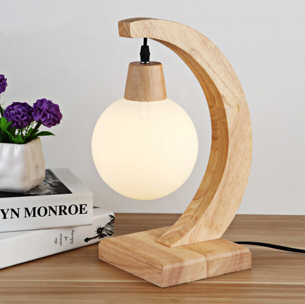 Modern Simple Bedroom Decor LED Wood Table Lamp Nordic Art Creative Glass Lampshape Study Bedside Lights Free Shipping 2017 new sale post modern simple nordic bedroom study bedside aisle balcony creative personality led wall lamp home decor lights