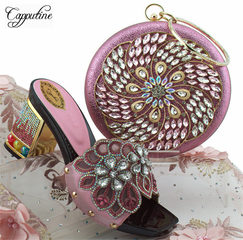 Capputine Latest Design Pumps Women PU Leather With Crystal Shoes And Purse Set Italian Pumps Shoes And Bag Set For Party YK-002 hot artist high quality pu leather shoes and handbag set italian style rhinestone pumps shoes and woman bag set for party yk 185