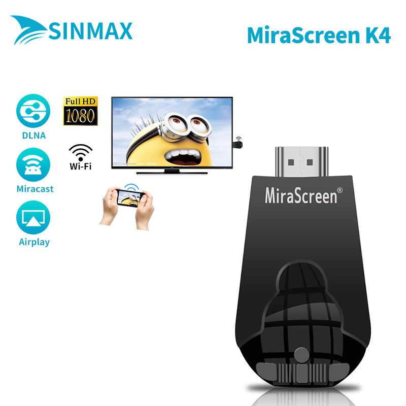 HDMI wifi display receiver dongle Mirascreen K4 Adapter Mini pc Android TV stick Miracast Airplay vs Chromecast cromecast cast 2