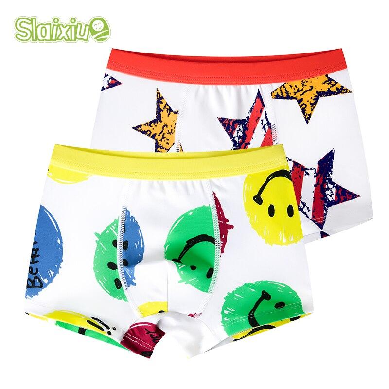 2 Pcs/lot Soft Organic Cotton Children's Teenager Underwear Colorful Boys Shorts Panties Baby Boy Stripes Kids Underwear 2-16y
