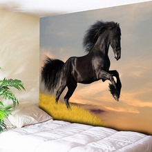 Черный гобелен с изображением коня, Настенный Ковер, домашний декор, диванное одеяло для гостиной, настенная скатерть, коврик для йоги, 200 см X 150 см, 150 см* 130 см