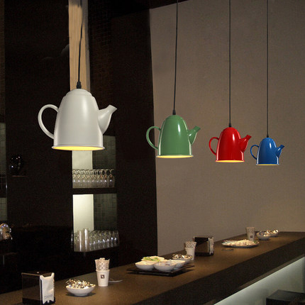 European Tea Kettle Droplights Vintage Teapot Pendant Lights Fixture Restaurant Cafes Pub Bar Coffee Shops Hanging Lamp D28cm european popular bar chair coffee tea