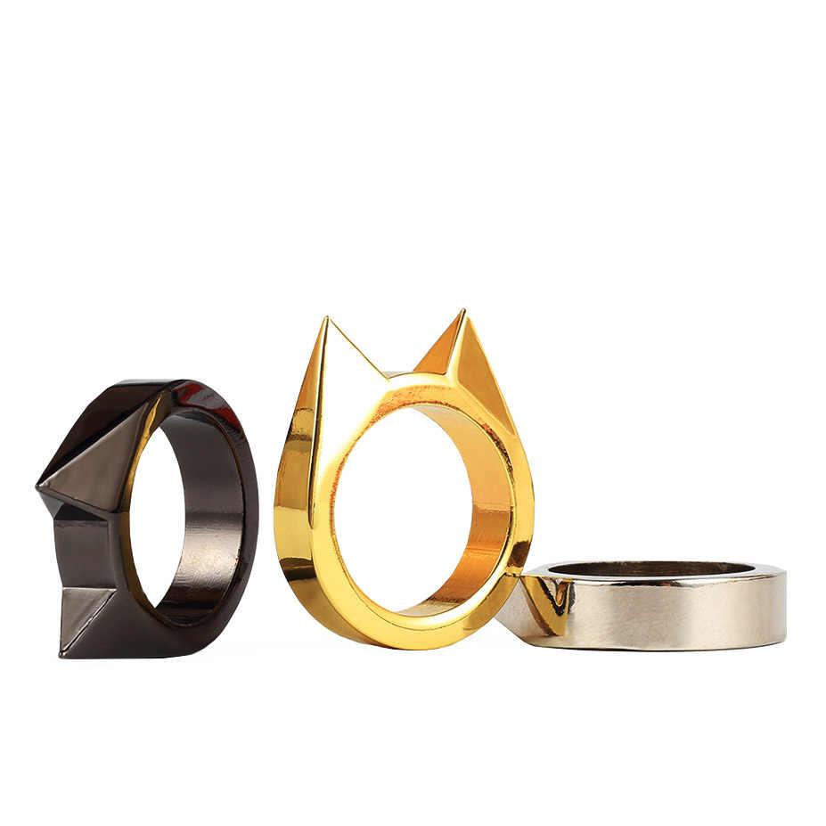 1 Pcs ผู้หญิงผู้ชายความปลอดภัย Survival แหวนเครื่องมือป้องกันตัวเอง EDC สแตนเลสสตีลแหวนป้องกันแหวนเครื่องมือ Silver Gold สีดำ