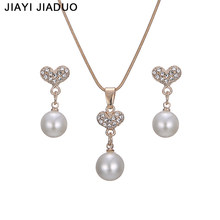 jiayijiaduo African women jewelry set imitation pearl gold-color Pendant Necklace Earrings party clothing accessories wholesale(China)