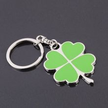 Hot Selling good luck silver green four leaves clover Key Ring men women clover Chain Keychain fine jewelry gift wholesale