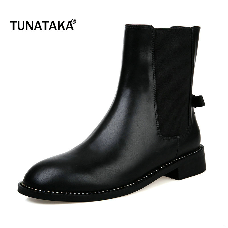 2017 The New Woman Winter Genuine Leather Mid Calf Chelsea Boots Round Toe Comfort  Square Heel Party Boots Black double buckle cross straps mid calf boots