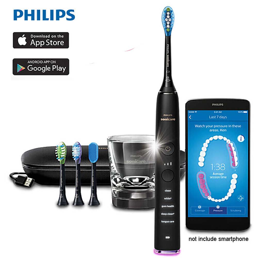 Philips Sonicare DiamondClean Smart Sonic Toothbrush HX9924 Support App With Intelligent Brush Head Sensing, 5 Modes