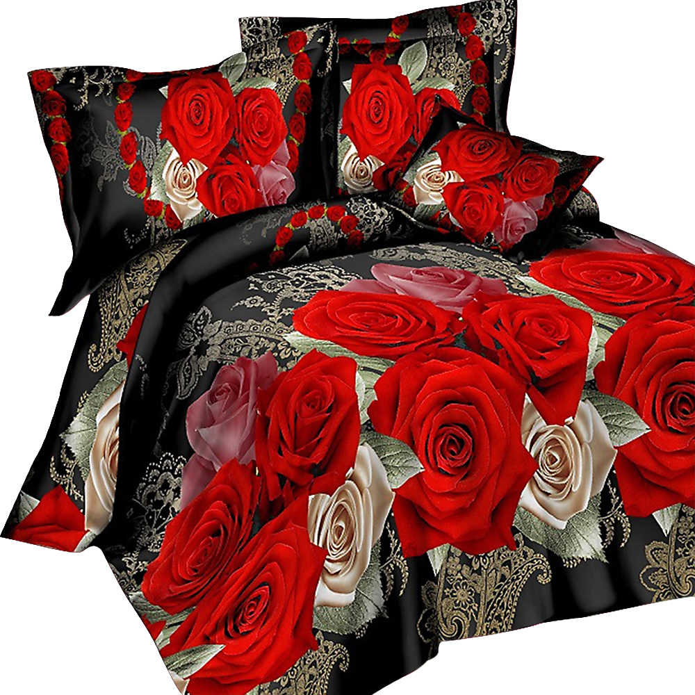 Urijk 3/4PCS 3D Print Leopard Tiger Rose Lion Flower Soft Bedding Sets Duvet Cover Bed Set Pillowcase Queen Size Dorp Shipping