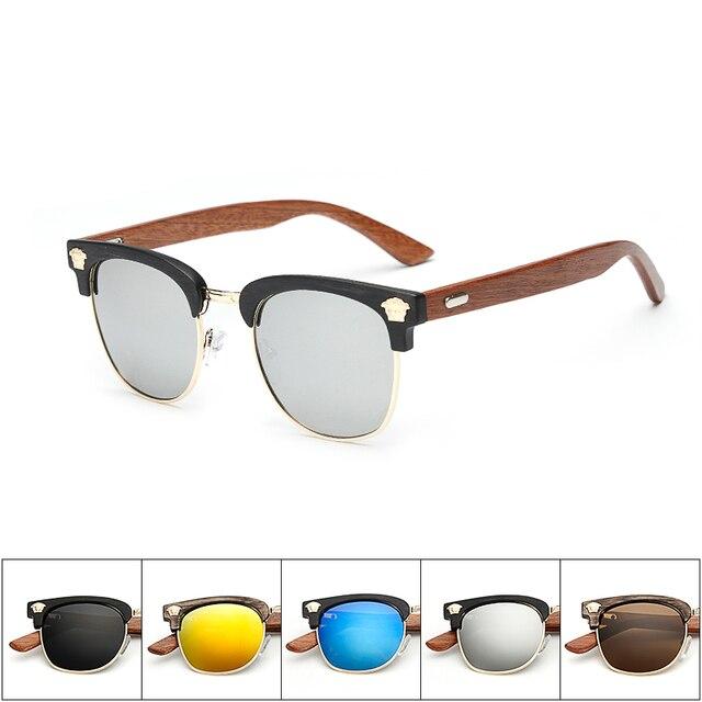 Half Frame Retro Sunglasses Men Wood Sunglasses Leg Spectacles Manual Walnut Wood SunGlasses Eyeglasses Unisex Goggle KP1520