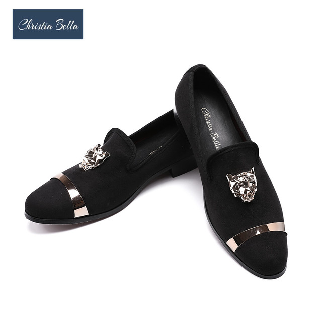 12603e39f Christia Bella New Fashion Men Party and Wedding Handmade Loafers Men  Velvet Shoes with Tiger and Gold Buckle Men Dress Shoes