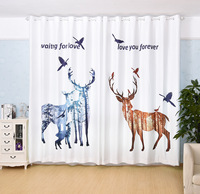 Printed Curtain Cloth Semi shading Nordic Style Curtain Comfortable Velvet Floating Window Curtains for Bedroom Living Room