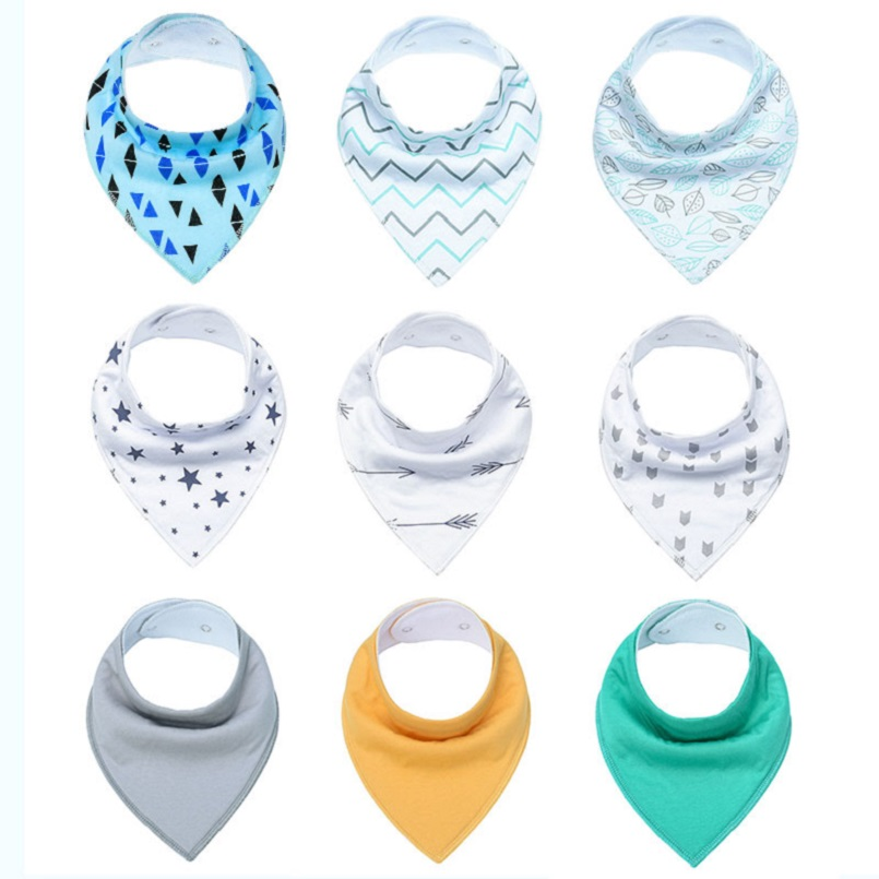 9-Pack/Lot Unisex Baby Bibs Adjustable Snops Absorbent 100% Cotton Bandana Bibs for Droaling Teething Newborn Infant Gift Set miracool neck bandana re usable 100 s of times keeps you cool red 2 pack