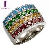 Lohaspie Natural Chrome Diopside & Garnet & Swiss Blue Topaz & Citrine 10K White Gold Rings Vintage Fine Jewelry For Women Gift
