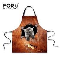 Animal bonito Avental para As Mulheres Homem Avental de Impressão Do Gato Do Cão 3D engraçado Da Cozinha Desgaste Casa Limpeza Meia Babadores Ferramenta de Cozimento Frete Grátis