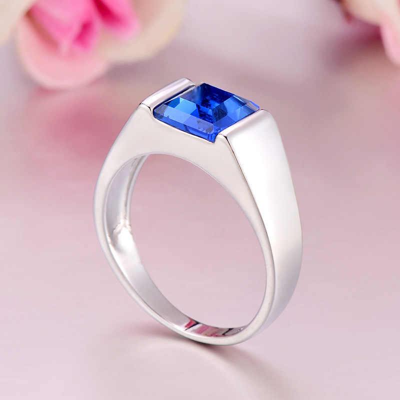 ยุโรปและอเมริกา Topaz สีฟ้าคริสตัลแหวนหมั้นคริสตัลแหวนแฟชั่นบรรยากาศ Blue Zircon Inlay แหวน 925 Anillos Silver