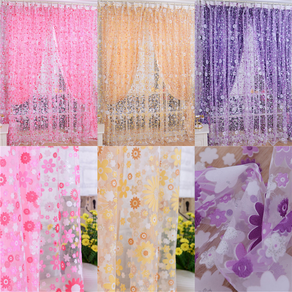 Flower Printed Window Screening Sheer Gauze Tulle Voile Curtain Blinds For Cafe Hotel Living