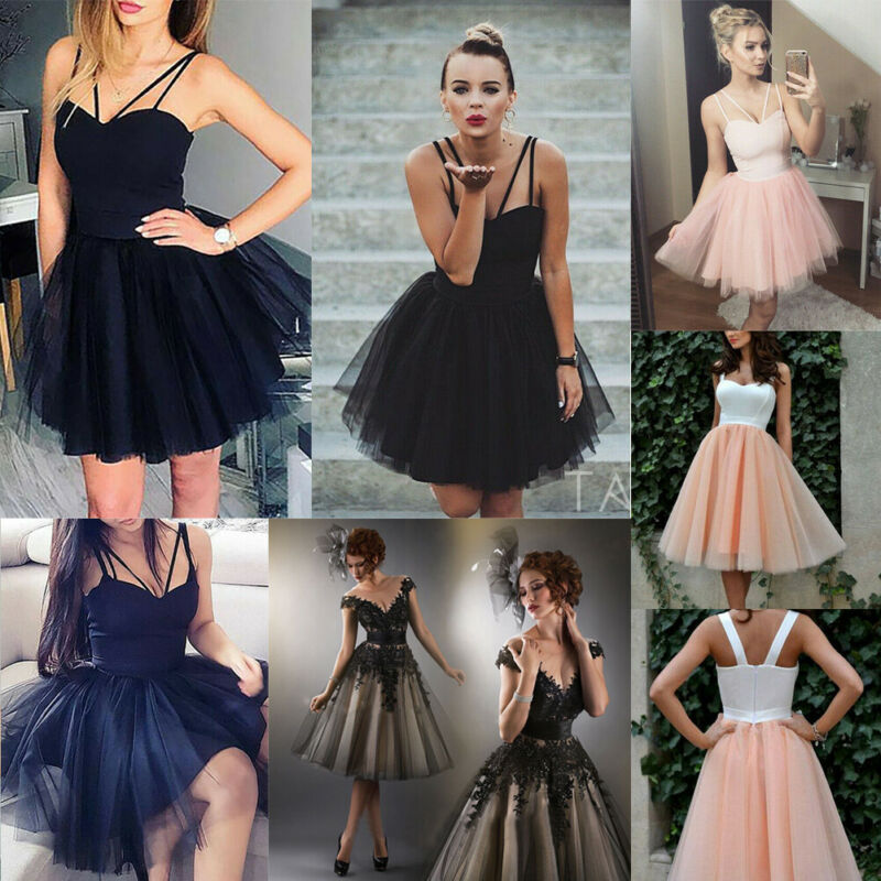 TOP Women Bridesmaid Short Tulle Tutu Dresses Party Ball Prom Gown Sexy Mesh Stitching Sling High Waist Solid Short Dress