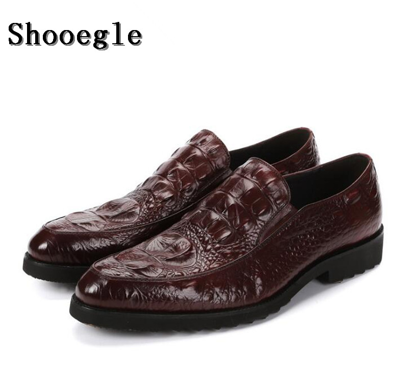 SHOOEGLE High-grade Men Alligator Skin Leather Dress Shoes Slip-on Loafers Shoes Black Coffee Colors Oxfords Driving Shoes Man branded men s penny loafes casual men s full grain leather emboss crocodile boat shoes slip on breathable moccasin driving shoes