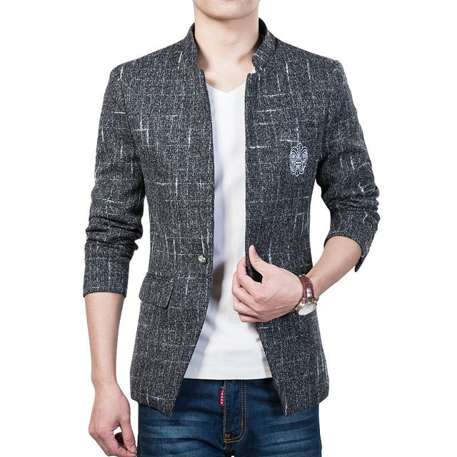 New Spring autumn casual blazer men Pocket embroidery ...