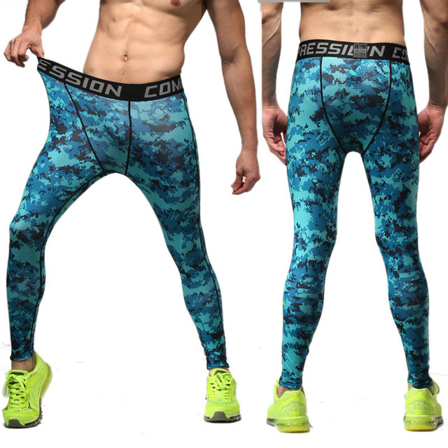 3b68f5fd95 Multi 15 Color Skinny Pants Men Casual Camouflage Quick Dry Pro Leggings  Compression Trousers Sweatpants Outwears