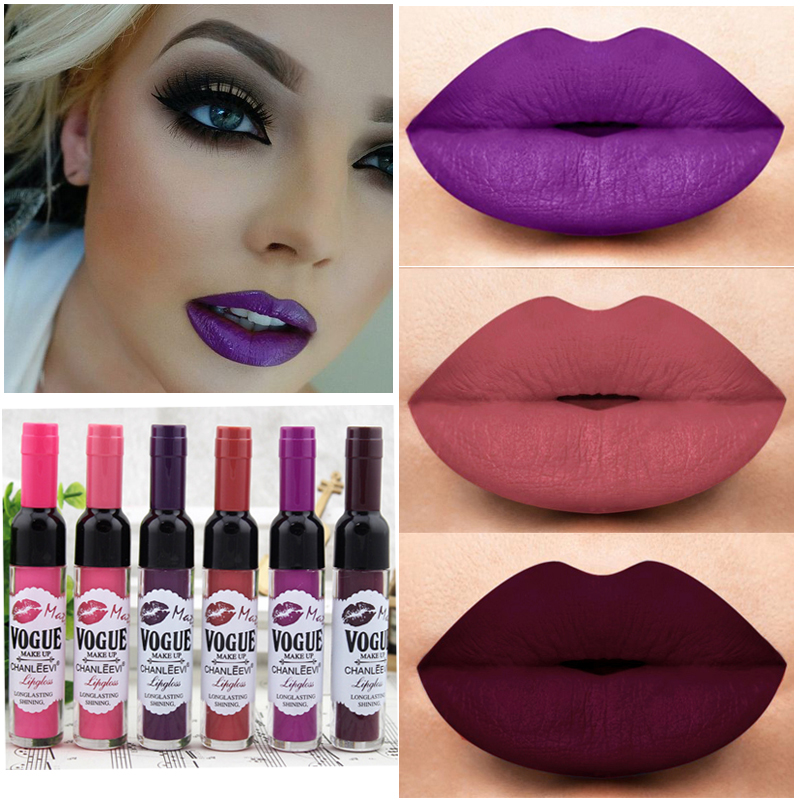 New Sexy Cheap Makeup Lips Matte Lip Gloss Long Lasting Wine Bottle Red Brown Velvet Matte Liquid Lipstick Lip Tint Cosmetics image