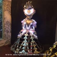 Костюмы для бальных танцев танцевальная Для женщин Платья для женщин с подсветкой Европейский суд костюмы Белый свет модель Косплэй шоу на сцене одежда певица DS носит