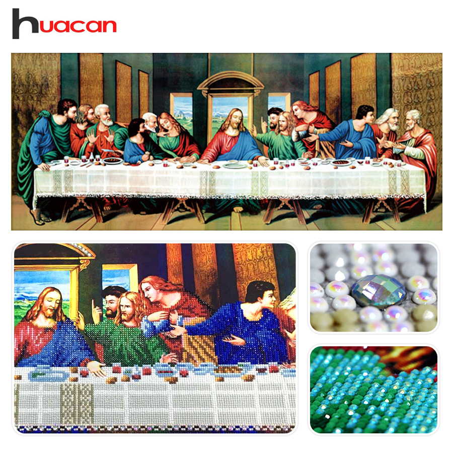 Huacan,Special Shaped,Diamond Embroidery Painting,Last Supper,Religious,5D Diamond Mosaic,Cross Stitch,Holiday,Gift,Wall Decor