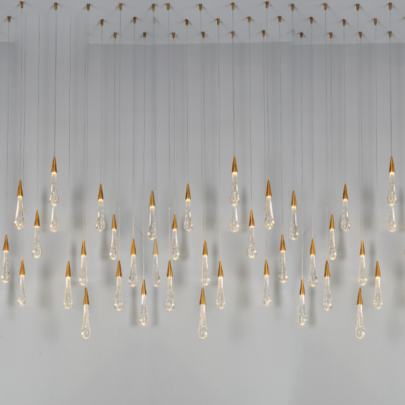 Gold Water drop Bubble Crystal Creative Pendant Light European-style Luxury LED Lamps Glass Indoor Lighting Restaurant