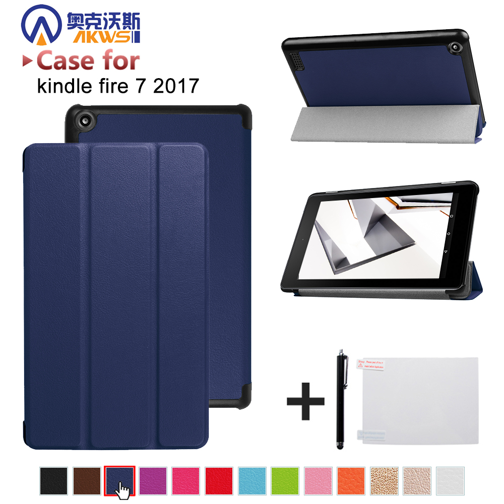 Folio stand PU leather cover case For 2017 Amazon All New fire 7 Tablet with Alexa 7 tablet+free gift folio wallet cross texture leather cover case for iphone 7 smile