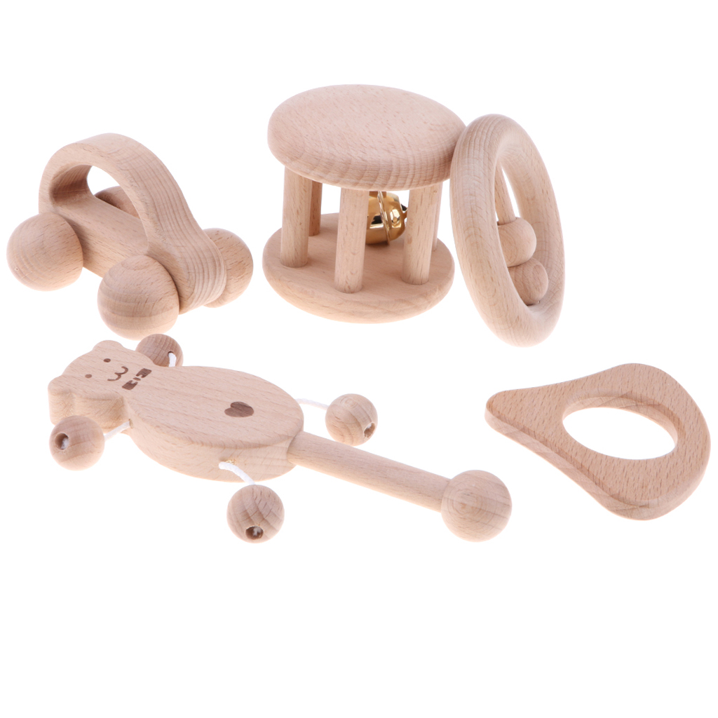 5 Pieces/ Bag Montessori Natural Wooden Baby Teethers Ring Sensory Rattle Early Educational Grasping & Teething Toddler Toys