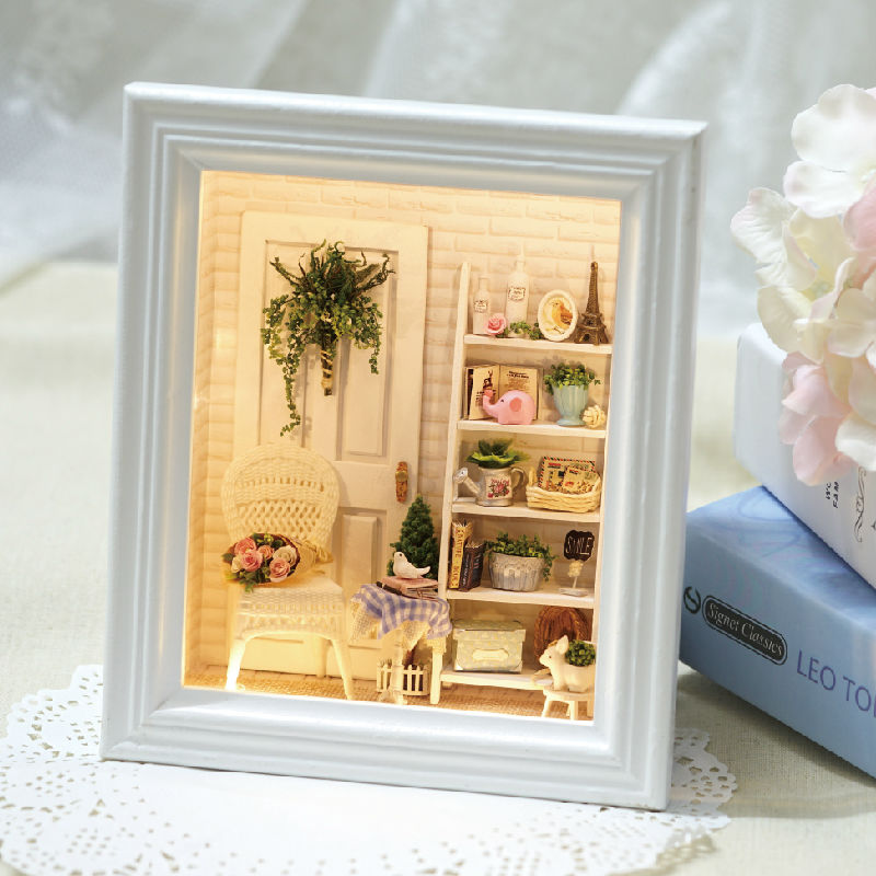 Diy Doll House Creative Photo Frame Wall Wooden Dollhouses Furniture ...