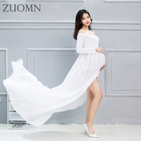 Pregnant Maternity Women Photography Props Dresses 7 Colors Pregnant Strapless Spilt Maternity Photo Shoot Shower Dress YL524
