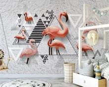 beibehang Nordic classic simple 3D stereo wallpaper black and white geometric flamingo background papel de parede papier peint