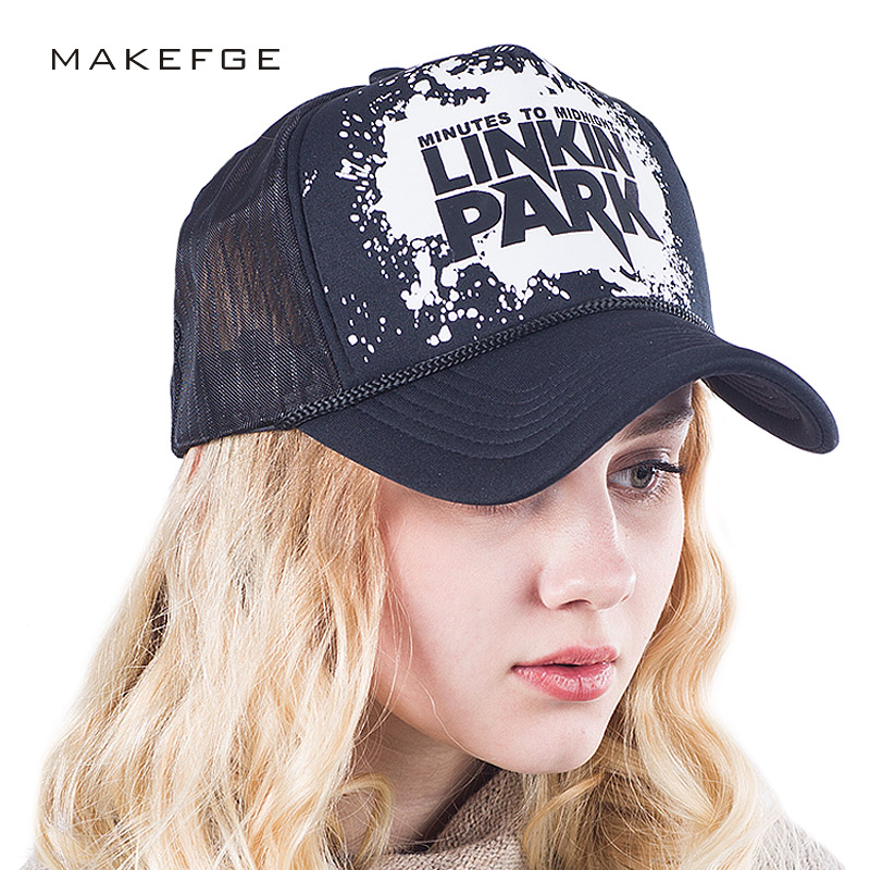 2018 Summer Baseball Mesh Cap Chester Linkin Park Rock Snapback Dad Hat Fashion hats Trucker Hat Hip hop Unisex Women Men Cap letter embroidery dad hats hip hop baseball caps snapback trucker cap casual summer women men black hat adjustable korean style